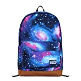 Tinksky® Fashion Canvas Galaxy Universe Star Girl's Backpack Shoulders Bag (Blue)