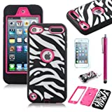 ULAK Rose Pink White Zebra Combo Hard Soft High Impact Armor Case Skin Gel for Apple iPod Touch Generation 5 with Screen Protector and Stylus