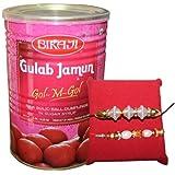 Handicrunch Fancy Rakhi Combo Set Of 2 With 1.25 Kg Bikaji Tin Gulam Jamun