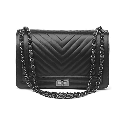 Almo - Borsa in pelle da donna made in Italy, colore: nero, a tracolla o a spalla