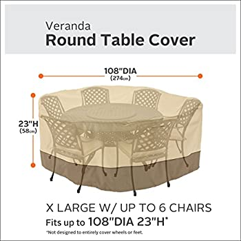 Classic Accessories Veranda Round Patio Table & Chairs Cover, X-Large