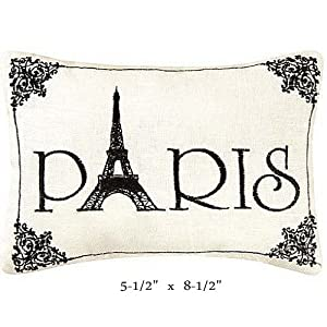 """Paris"" - Small/Cute Embroidered ACCENT ""Pillow"" (5 1/2"" x 8 1/2"")"