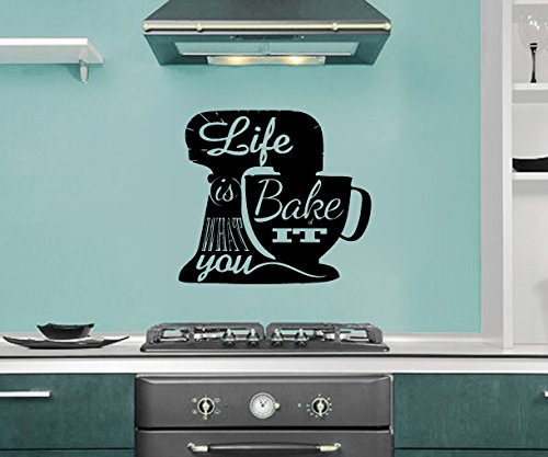Life is What You Bake of It Stand Mixer Silhouette Kitchen Vinyl Wall Words Decal Sticker Graphic (Bake Stickers compare prices)