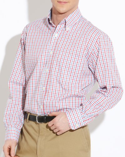 Savile Row Men's White Red Blue Check Buttondown Collar Casual Shirt Size X-Large