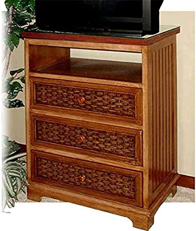 Cottage Wood and Wicker TV Stand with Rotating Top