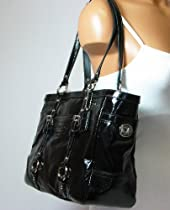 Coach Patent Leather Gallery Bag Purse Tote 10380 Black