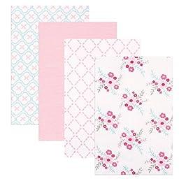 Luvable Friends 4 Piece Flannel Receiving Blankets, Floral