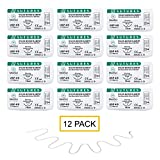 MedSci Global Suture Thread with Needle (Pkg. of 12) - For Practicing Suturing Doctors, Medical Students, Veterinarians, and Nurses | Lifetime Satisfaction Guaranteed