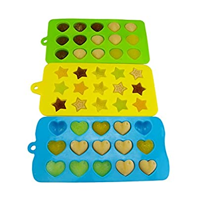 MIREN 3-piece Mini Star, Heart and Shell Shape Silicone Candy Molds, Chocolate Molds, Ice Cube Tray, Soap Molds, Cake Baking Mold, Three Colors (Green, Blue, Yellow)