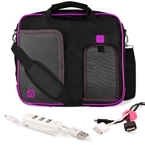 Purple Trim Black Pindar Durable Water-Resistant Nylon Protective Carrying Case Messenger Shoulder Bag For Alienware Gaming 11.6 Inch Notebook Laptop Computer + Pink Cable Organizer + White 3 Port Usb Hub With Micro Usb Charger
