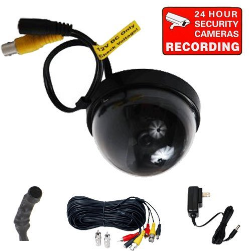 VideoSecu indoor dome Sony CCD security camera for CCTV DVR Home Surveillance System with audio microphone, audio video power cable and free power supply 1VM