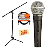 Shure SM58S Vocal On/Off Switch Microphone Bundle with 10-Foot XLR Cable and Boom Stand