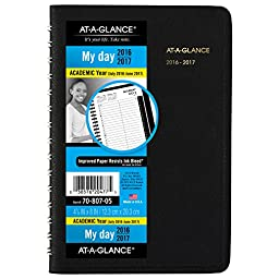 AT-A-GLANCE Academic Year Daily Appointment Book / Planner, July 2016 - June 2017, 4-7/8\
