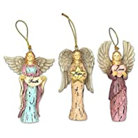 Faith Hope Love Angel Ornaments - Set of 3 - Christmas Ornament - Holiday Decorations Christmas Tree Ornaments Xmas Angel Wings - Gift