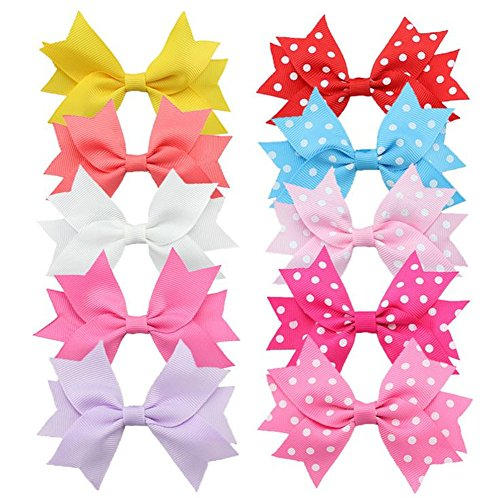 10 pezzi per bambini, motivo principesse, da bambina, motivo: nastro con fiocco a Clip Barrettes accessori (5 colori solidi e 5, con motivi a pois