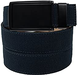 SlideBelts Men's Canvas Belt without Holes - Matte Black Buckle / Navy Canvas (Trim-to-fit: Up to 48