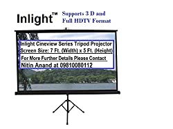 Inlight Cineview Series Tripod Type Projector Screen 7 Ft. (Width) x 5 Ft. (Height) In Imported High Gain Fabric, Comes With Tripod Stand, Supports 3 D and Full HDTV Format