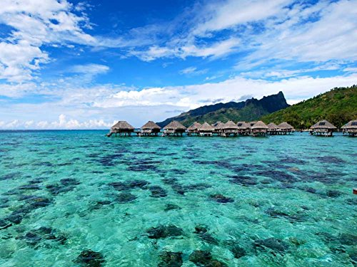 Blue Lagoon and Coral Reef under water bungalows Moorea French Polynesia - Art Print on Canvas (32x24 inches, unframed)