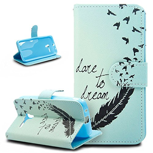 "Custodia Alcatel One Touch Pop 3,Alcatel One Touch Pop 3 Cover, ikasus® Alcatel One Touch Pop 3 Custodia Cover [PU Leather] [Shock-Absorption] Protettiva Portafoglio Cover Custodia Reticolo di fiore di piume colorate dipinte Campanula Mandala con Super Sottile TPU Interno Case e Porta carte di credito Custodia Cover per Alcatel One Touch Pop 3 (5.0"") ,Cover Alcatel One Touch Pop 3 - Blu Uccelli di piuma"