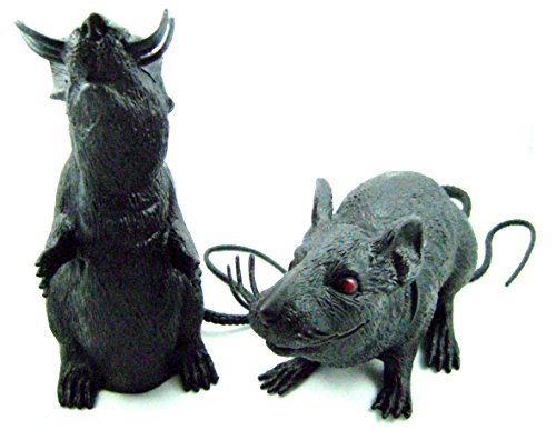 Spooky Plastic Squeaking Rats 8 - 9 Inches Tall(2 pack)
