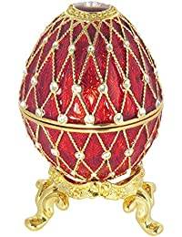 Burgundy Russian Faberge Style Egg Made With Swarovski Crystal Proposal Wedding Jewelry Ring Holder Box By Krustallos