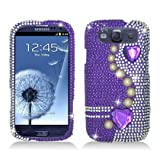 Aimo SAMI9300PCLDI638 Dazzling Diamond Bling Case For Samsung Galaxy S3 I9300 - Retail Packaging - Pearl Purple...