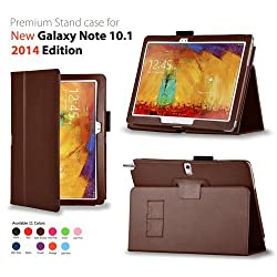 Elsse Premium Folio Case for Samsung Galaxy Note 10.1 2014 Edition (Galaxy Note 10.1 2014 Brown)