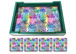 Nutcase Designer Colorful & Quirky Serving Trays With A Set Of 4 Matching Metal Coasters - Diwali Festive Gifts / Gift Ideas- Housewarming Gift - Pop Art Pineapple