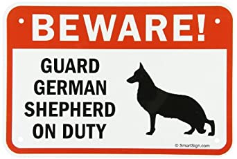 "SmartSign Aluminum Sign, Legend ""Beware! Guard German Shepherd on Duty"" with Graphic, 12"" high x 18"" wide, Black/Red on White"