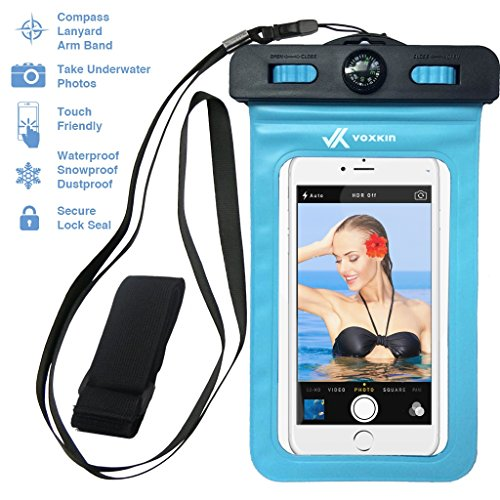 Voxkin PREMIUM QUALITY Universal Waterproof Case including ARMBAND ✚ COMPASS ✚ LANYARD - Best Water Proof, Dustproof, Snowproof Bag for iPhone 7, 6S, 6, Plus, 5S, Samsung Galaxy S7, S6, Note 7, 5 (Cell Phone Accessories For L90 compare prices)