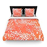 "Kess InHouse Iris Lehnhardt ""Twigs Silhouette Coral"" Orange King Woven Duvet Cover, 88 by 104-Inch"