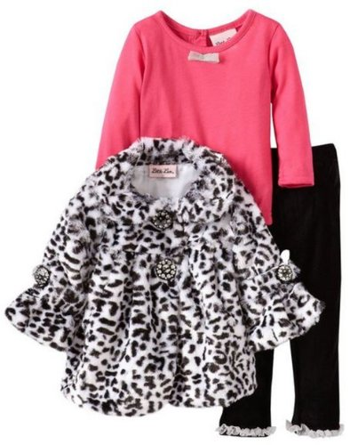Baby Girls Infant 3 Piece Animal Printed Faux Fur Dress Up Jacket Outfit Set