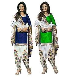 Janasya Women's Unstitched Polyester Dress Material COmbo (Blue & Green)