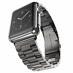 HCcolo Apple Watch Band, HCE Stainless Steel Link Bracelet, Sport Bands for iWatch All Models, Double Button Folding Clasp - 42mm - Black