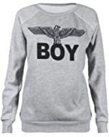 Fast Fashion - Sweatshirt Geek Brooklyn Boy Aigle Impression - Femme (EUR (36-38), Boy - Gris)