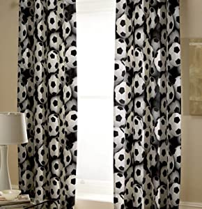Black White Football Soccer Cotton Blend Lined 66x72 Curtains Drapes #laog *tur* from PCJ Supplies