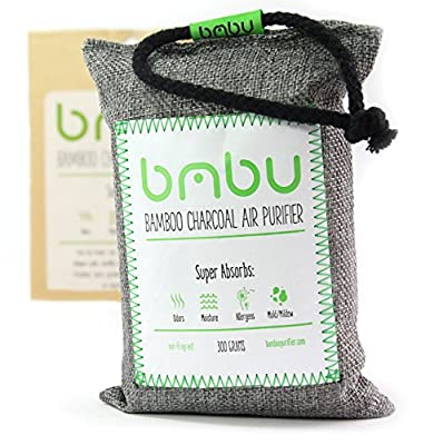 300g Bamboo Charcoal Air Purifier Bag ? Car Deodorizer and Air Freshener ? Remove Odor and Control Moisture in your Car, Closet, Bathroom, Kitchen, Litter Box ? Non-Fragrant Alternative to Sprays