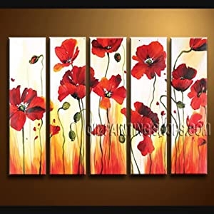 "HUGE MODERN ABSTRACT OIL PAINTING RED POPPY FIELD IMPRESSIONIST WALL ART Signed Original By Bo Yi Art Studio 54"" x 32"""