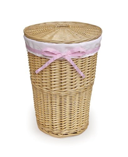 Badger Basket Round Rattan Hamper with Waffle Liner and Four Belts, Natural/White (Lined Wicker Basket With Lid compare prices)