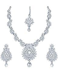 Sukkhi Magnificent Rhodium Plated Australian Diamond Stone Studded Necklace Set For Women
