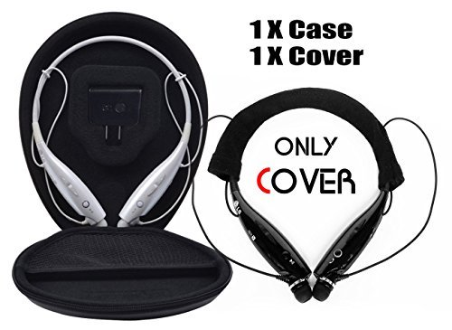 Click to buy FitSand(TM) Travel Portable Protective Case Bag Pouch Box + Soft Cotton Headset Cover for LG Electronics Tone HBS 730 700W 750 800 900 Stereo Wireless Bluetooth Headset - From only $7.99