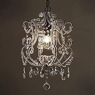 CHXDD French Vintage Crystal Hanging Lamp American Village Dining Room Foyer Entrance Cloakroom Iron Pendant Light Chandelier