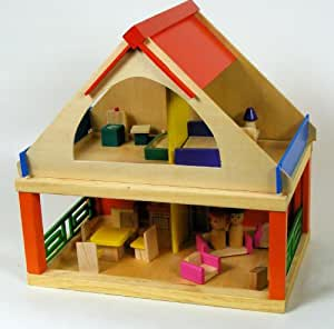 Wooden Dolls House With Furniture And Figures Toys Games