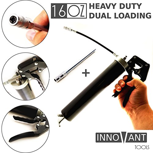INNOVANT 16 oz Dual Loading Delivery Heavy Duty Head Pistol Grip Grease Gun 16oz Bulk & 14 oz Cartridge Flexible Whip Hose & Coupler Extension Jam Proof Plunger Prevents Binding & Bending (Automatic Grease Gun Battery compare prices)