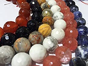 AfricaGemsUSA 6 Strands 12mm WholeSale Lot A Faceted Round Beads- Carnelian White Howlite Sodalite C