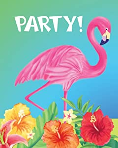 Creative Converting 25 Count Party Pack Party Invitations, Luau Flamingo Hibiscus Heat
