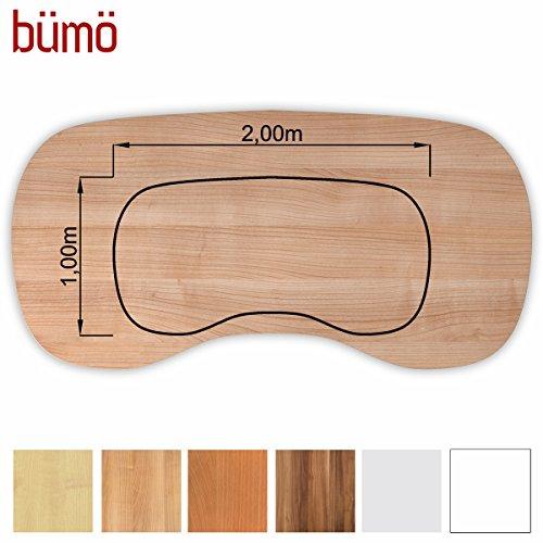 Bm-stabile-Tischplatte-25-cm-stark-DIY-Schreibtischplatte-aus-Holz-Brotischplatte-belastbar-mit-120-kg-Spanholzplatte-in-vielen-Formen-Dekoren-Platte-fr-Bro-Tisch-mehr-Nierenform-200-x-100-cm-Nussbaum