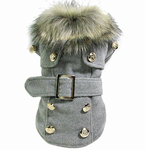 Dogloveit Fashion Elegant Windbreaker Jacket With Woolen Collar Soft Winter Coat For Dog Cat Puppy Pet, Grey, Medium