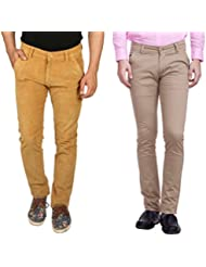 Nimegh Gold Corduroy, Beige Cotton Casual Slim Fit Trouser For Men's (Pack Of 2)