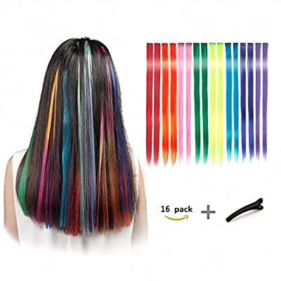 FESHFEN 16 Pcs 8 Colors Straight Clip on in Hair Extensions Hairpieces 20 Inches Long Remy Hair Colored Party Highlights Hair Accessories DIY Hair Decoration Cosplay with Gift Hairpin